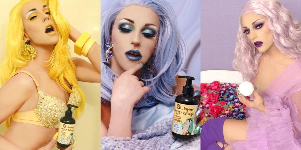Photos of Laganja Estranja with Honey Pot Hemp CBD Body Care Products